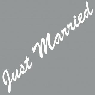 Just Married 55cm weiß Aufkleber Tattoo Deko Folie Auto Heck Scheibe Motorhaube