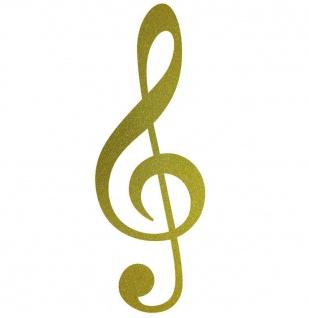 Violinschlüssel 30cm gold Notenschlüssel Musik Auto Aufkleber Tattoo Deko Folie