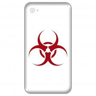 4 Aufkleber Tattoo 5cm dunkelrot hazard Biohazard Handy smartphone Deko Folie