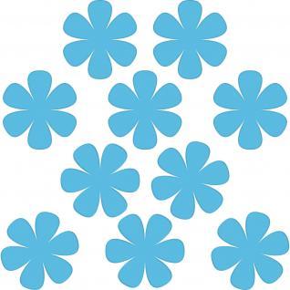 10 Aufkleber Tattoo 8cm hellblau Blumen Blümchen Deko Folie Kinderzimmer Schrank