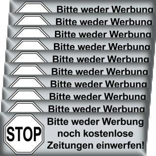 10 Aufkleber Stop Bitte Keine Werbung Reklame Zeitung einwerfen Briefkasten