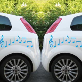 2 Sets Violinschlüssel 20cm + Noten hellblau Auto Fenster Aufkleber Tattoo Folie