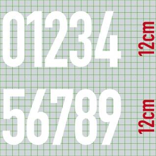 10 Aufkleber 12cm weiß DIN1451 Haus Tür Auto Nummer Ziffer Zahl Nr Hausnummer