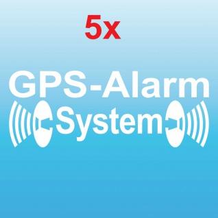 5 Aufkleber Tattoo GPS Alarm System weiß gespiegelt Auto Haus Shop Fenster Folie