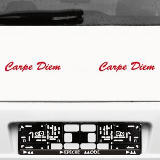 2 Stück Carpe Diem 20cm rot Schriftzug Aufkleber Tattoo Auto die cut Deko Folie