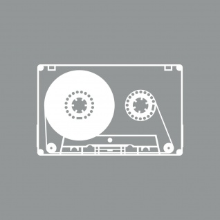Musik Kassette 10cm weiß Aufkleber Tattoo Deko Folie MC Music Cassette DJ Tape