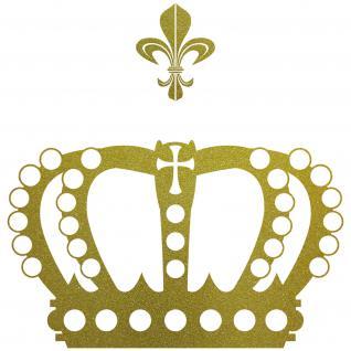 Krone 38cm + Lilie gold König Aufkleber Auto Fenster Tür Wand Tattoo Deko Folie