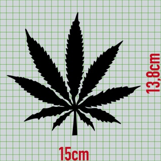1 Hanf Blatt 15cm schwarz THC Gras Pflanze Marihuana Aufkleber Tattoo Deko Folie - Vorschau 2