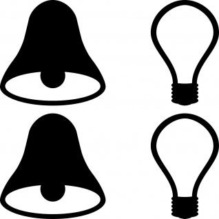 2 Sets Aufkleber 5cm sw Tattoo Tür Taster Schalter Lampe Licht & Klingel Symbole