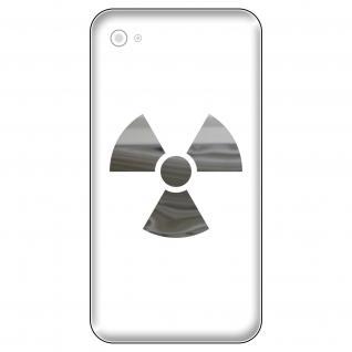 4 Aufkleber Tattoo 5cm chrom Radioaktiv Symbol Logo Handy smartphone Deko Folie