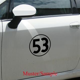 Aufkleber Tattoo 53 schwarz 20cm Auto Folie Racing Startnummer Nummer Herbie Nr