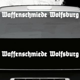 2 Stück Waffenschmiede Wolfsburg 70cm weiß Auto Heck Deko Aufkleber Tattoo Folie