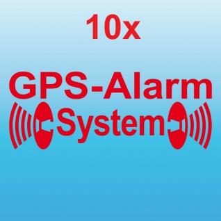 10 Aufkleber Tattoo GPS Alarm System rot gespiegelt Scheibe Fenster Auto Haus
