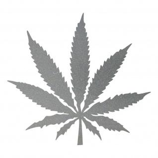 1 Hanf Blatt 25cm silber Canabis THC Gras Aufkleber Tattoo Deko Folie Marihuana