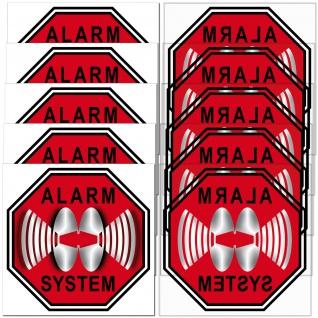 5 + 5 Alarm System Aufkleber 5cm rot Sticker für Innenseite Fenster Glas Scheibe