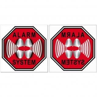 Alarm System Aufkleber 5cm rot Sticker Set für 40 Fenster Innenseite Glasscheibe