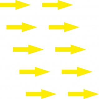 10 Aufkleber Pfeil 5cm schmal gelb Tattoo Deko Folie Klebefolie Hinweis Richtung