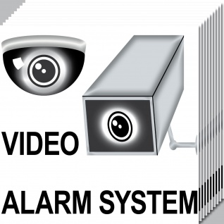 10 Aufkleber 20cm Sticker Video Kamera Alarm System Hinweis CCTV Tür Überwachung