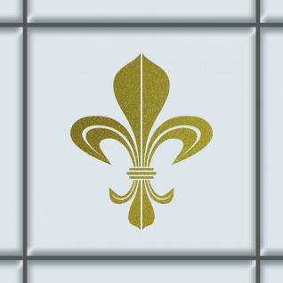 Bourbon Lilie 8cm gold Aufkleber Tattoo Fliesen Spiegel Glas Tür Auto Heck Folie