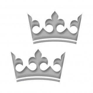 2 Kronen 12cm silber König Krone Aufkleber Tattoo Auto Möbel die cut Deko Folie