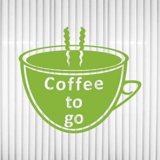 Coffee to go Kaffee Tasse 25cm grün Aufkleber Tattoo Deko Folie Fenster Glas Tür