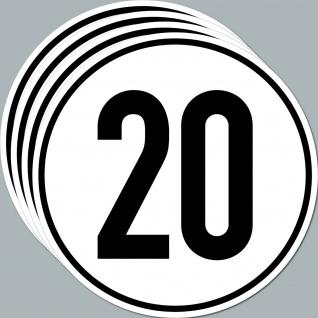 4 Aufkleber Sticker 20 kmh km/h 20cm Geschwindigkeit Auto Bus Pkw TÜV DIN1451