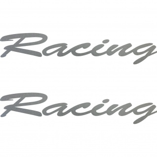 2 Aufkleber Schriftzug Racing 20cm silber Tattoo Deko Folie Auto Tür Heck Klappe