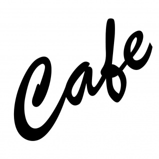 Cafe 15cm Aufkleber Tattoo Deko Folie Schriftzug Schreibschrift Küche Bar Theke
