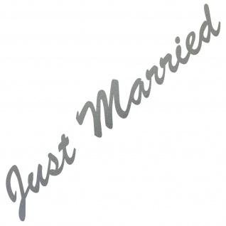 Just Married 55cm silber Aufkleber Tattoo Hochzeit Deko Folie Auto Heck Scheibe