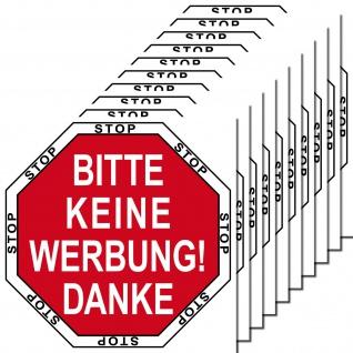 10 Aufkleber rot STOP BITTE KEINE WERBUNG DANKE einwerfen Hausflur Briefkasten