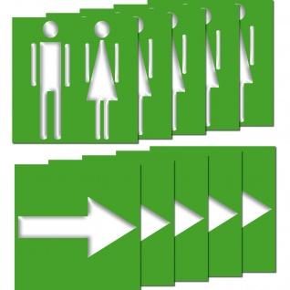 5 Aufkleber WC Mann Frau + 5 Pfeil Sticker Hinweis Toilette Richtung Wegweiser