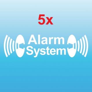 5 Alarm System weiß gespiegelt Aufkleber Tattoo Auto Balkon Shop Fenster Scheibe