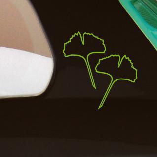 4 Aufkleber 15cm grün Kontur Gingko Ginko Blatt Blätter Auto Tattoo Deko Folie