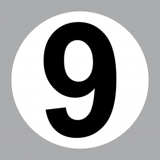 Aufkleber 20cm Nummer 9 Start Nr Haus Tür Garage Keller Tor Müll Kontainer Zahl