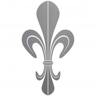10 Aufkleber Tattoo 10cm silber DM Lilie Fleur de Lis Zeichen Symbol Deko Folie