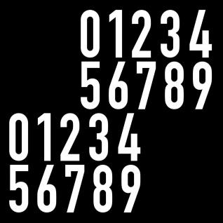 20 Aufkleber 6cm weiß DIN 1451 Verkehrsschrift Ziffer Zahl Nummer Haus Tür Spind