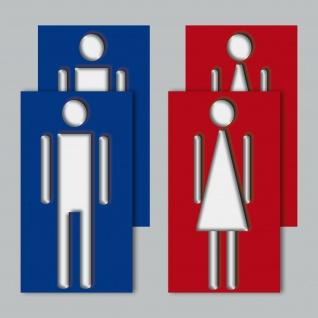 4 Stück 9cm Aufkleber Sticker Toilette WC Tür Hinweis Mann Frau Damen Herren