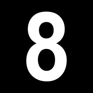 Ziffer 8 weiß 18cm Aufkleber Tattoo Nummer Zahl Hausnummer Haus Tür Briefkasten