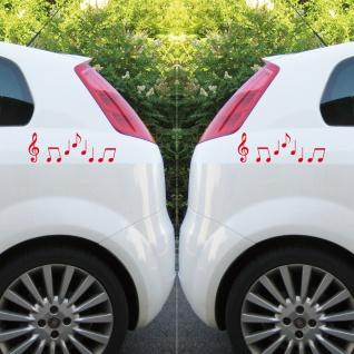 2 Sets Violinschlüssel 10cm + Noten rot Auto Heck Fenster Aufkleber Tattoo Folie