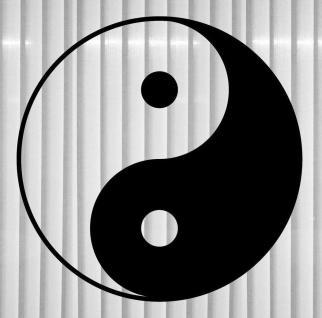 Aufkleber Tattoo Fenster Tür Auto Deko Folie 30cm I Ging Taiji Symbol Yin & Yang