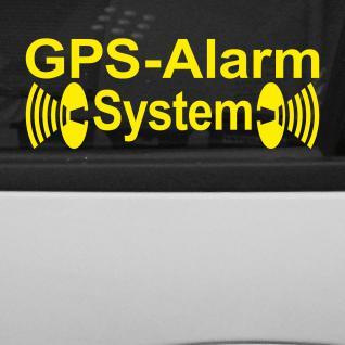 GPS Alarm System gelb gespiegelt Innenseite Auto Scheibe Aufkleber Tattoo Folie
