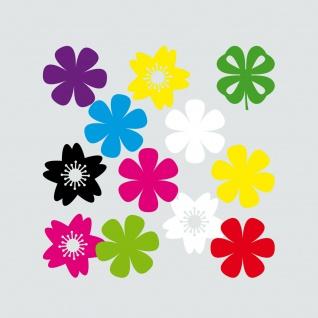 12 Aufkleber 4cm Tattoo Blümchen Blume Blüte Klee Hibiskus Auto Tür Heck Folie
