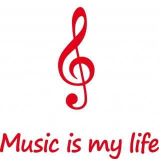 Set rot 30cm music is my life + 20cm Violinschlüssel Aufkleber Auto Folie Tattoo