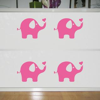 4 Aufkleber Tattoo Elefant rosa 20cm Dumbo Deko Folie Kinder Zimmer Möbel Tür