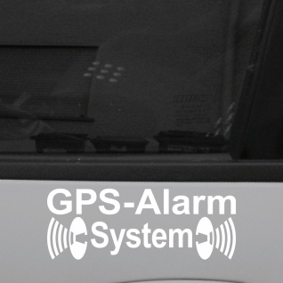 2 Aufkleber Tattoo GPS Alarm System weiß Hinweis Deko Folie für Außenseite