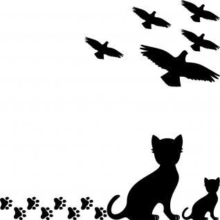 Set s Vögel Katze Pfötchen Aufkleber Tattoo Vogel Fenster Glas Schutz Deko Folie
