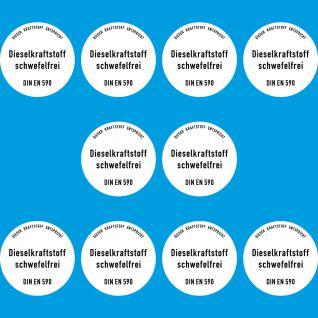 10 Aufkleber Sticker Diesel Hinweis Kraftstoff Tankstelle Zapfsäule Tankdeckel