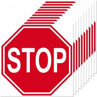 1 Aufkleber 10cm Sticker STOP Schild Hinweis Warnung Tür Arzt Praxis Maschinen - Vorschau 1