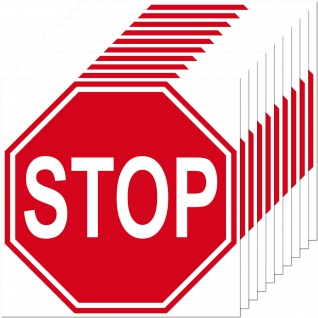 10 Aufkleber 10cm Sticker STOP Schild Hinweis Warnung Tür Arzt Praxis Maschinen