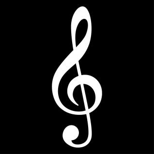 Violinschlüssel 25cm weiß Notenschlüssel Musik Auto Aufkleber Tattoo Deko Folie